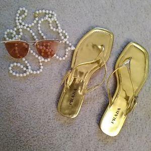 PRADA/GOLD METALLIC T - STRAP FLAT SANDALS